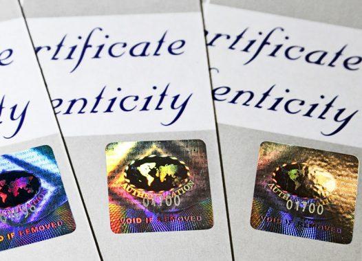 Zertifikate Hologramm