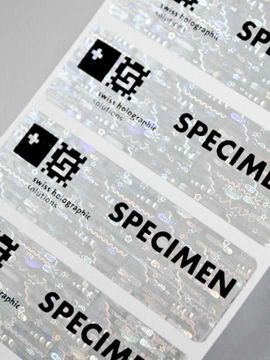 Hologramm-Siegel mit Aufdruck