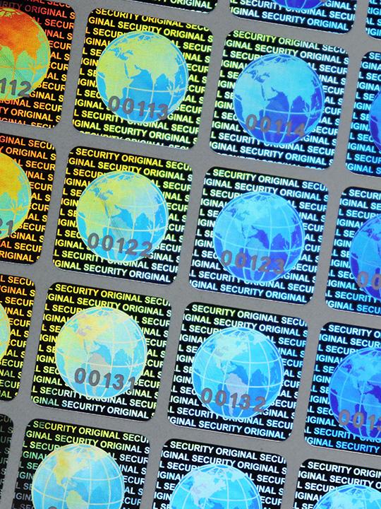 Hologramm-Etiketten GLOBUS